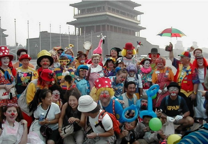 Group of 45 clown ambassador in China's Tieniman Square