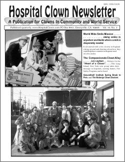 Front Page of Vol 10 No 3 featuring  the Smile Mission and Lev Leytzn Compassionate Clown Alley Team