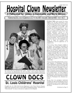 Front Page of Vol. 5  No. 3 featuring the Clown Docs of St. Louis Childrens' Hospital